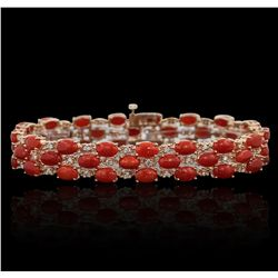 14KT Rose Gold 16.32ctw Coral and Diamond Bracelet