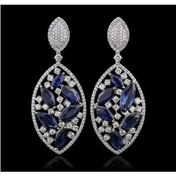 18KT White Gold 22.38ctw Sapphire and Diamond Earrings