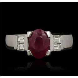 14KT White Gold 1.52ct Ruby and Diamond Ring