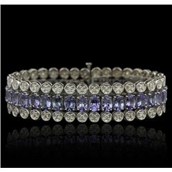 10KT White Gold 20.84ctw Tanzanite and Diamond Bracelet