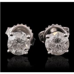 14KT White Gold 1.34ctw Diamond Stud Earrings