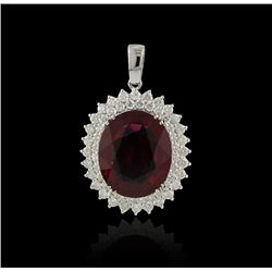14KT White Gold 19.70ct Rubellite Tourmaline and Diamond Pendant With Chain
