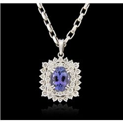 14KT White Gold 7.55ct Tanzanite and Diamond Pendant With Chain