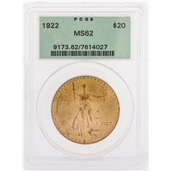 1922 PCGS MS62 $20 St. Gaudens Double Eagle Coin