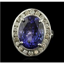 14KT White Gold 14.33ct GIA Cert Tanzanite and Diamond Ring