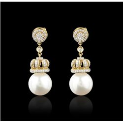 18KT Yellow Gold 12.75mm Pearls & Diamond Earrings FJM2525