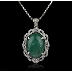 SILVER 28.99ct Emerald and White Sapphire Pendant RM754