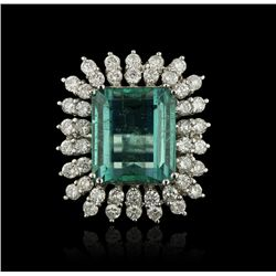 14KT White Gold 14.00ct Emerald and Diamond Ring A4316