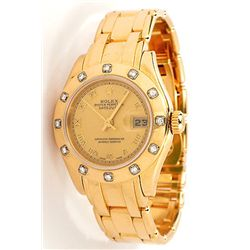 Ladies Rolex 18KT Yellow Gold Pearlmaster DateJust Wristwatch A3862