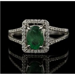 18KT White Gold 0.92ct Emerald and Diamond Ring FJM2263