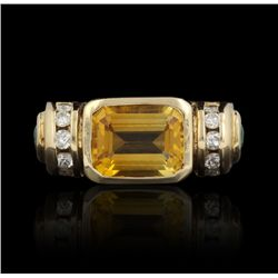 14KT Yellow Gold Citrine, Emerald and Diamond Ring GB1012
