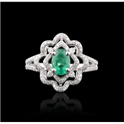 14KT White Gold 0.99ct Emerald & Diamond Ring FJM2560