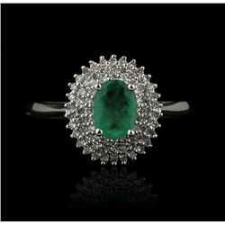 14KT White Gold 0.79ct Emerald and Diamond Ring FJM2100