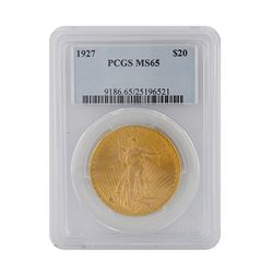 1927 $20 PCGS MS65 St. Gaudens Double Eagle Gold Coin GFR49