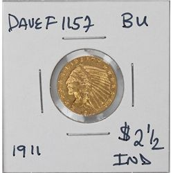 1911 $2 1/2 BU Indian Head Quarter Eagle Gold Coin DaveF1157