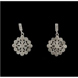 SILVER White Sapphire Filigree Style Earrings SLV25