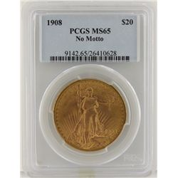 1908 N/M $20 PCGS MS65 St. Gaudens Double Eagle Gold Coin DaveF1239