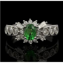 18KT White Gold 0.62ct Tsavorite and Diamond Ring FJM2268