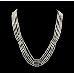 18KT White Gold Pearl and Diamond Necklace FJM2427