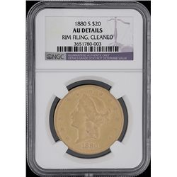 1880-S $20 Liberty Head Double Eagle Gold Coin NGC AU Details GCE151