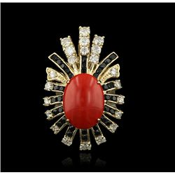 14KT Yellow Gold 6.78ctw Red Coral, Sapphire and Diamond Ring A4296