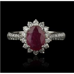 14KT White Gold 1.31ct Ruby and Diamond Ring FJM2102