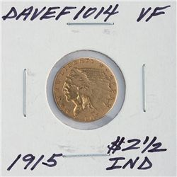 1915 $2 1/2 VF Indian Head Quarter Eagle Gold Coin DaveF1014