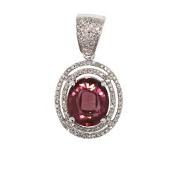 14KT White Gold 2.88ct Pink Tourmaline & Diamond Pendant GD393