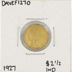 1927 $2 1/2 Indian Head Quarter Eagle Gold Coin DAVEF1270
