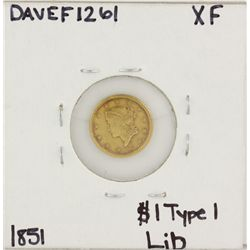 1851 $1 Type-1 XF Liberty Head Gold Coin DAVEF1261
