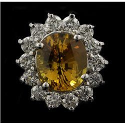14KT White Gold 5.45ct Yellow Sapphire and Diamond Ring FJM2362