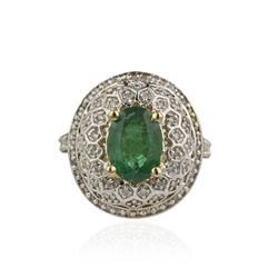 14KT Yellow Gold 2.86ct Emerald and Diamond Ring A4554