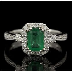 14KT White Gold 1.00ct Emerald and Diamond Ring FJM2255