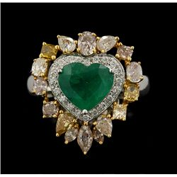 18KT White Gold 1.73ct Emerald and Diamond Hear Ring FJM2365
