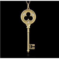 Tiffany & Co. 18KT Yellow Gold and Diamond Key Pendant with Chain GB976