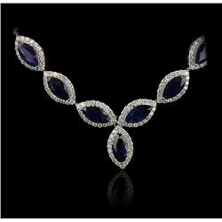 14KT White Gold 32.98ctw Sapphire and Diamond Necklace FJM2153