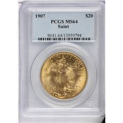 1907 N/M $20 PCGS MS64 St. Gaudens Double Eagle Gold Coin DaveF1119