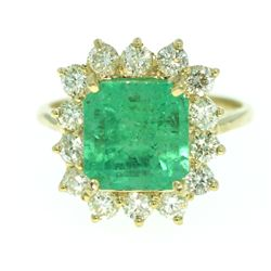 14KT Yellow Gold 3.63ct Emerald and Diamond Ring A3301