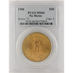 1908 NM $20 Liberty Head Double Eagle Gold Coin PCGS MS66 GCE152