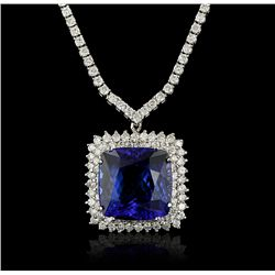 18KT White Gold 23.90ct Tanzanite and Diamond Necklace A4261