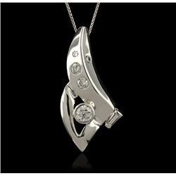 14KT White Gold 0.60ctw Diamond Pendant With Chain GB1268