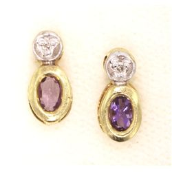 14KT Yellow Gold .62ct Amethyst and Diamond Earrings GD313