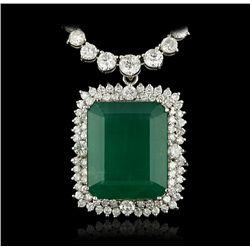 18KT White Gold 39.16ct Emerald and Diamond Necklace A4260