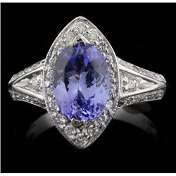 14KT Whit Gold 2.13ct Tanzanite and Diamond Ring A4528