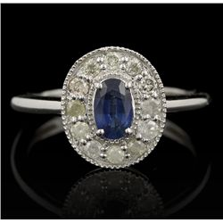 14KT White Gold 0.56ct Sapphire and Diamond Ring FJM2318
