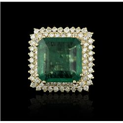 14KT Yellow Gold 14.40ct Emerald and Diamond Ring A4196