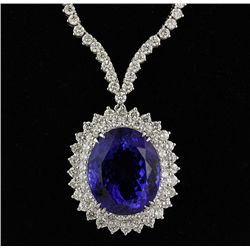 18KT White Gold 29.82ct Tanzanite and Diamond Necklace A2776