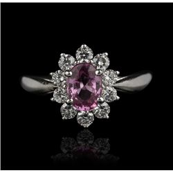 18KT White Gold 1.20ct Pink Sapphire and Diamond Ring FJM1999