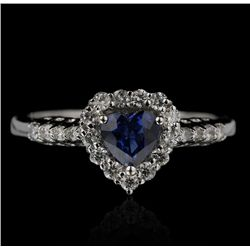 18KT White Gold 0.66ct Sapphire and Diamond Ring FJM2238