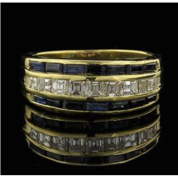 18KT Yellow Gold 0.50ctw Sapphire and Diamond Ring GB545